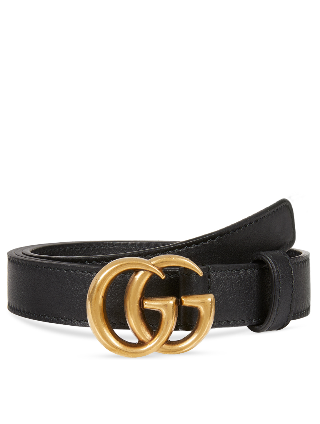 GUCCI Thin Leather Belt With Double G Buckle Women's Black