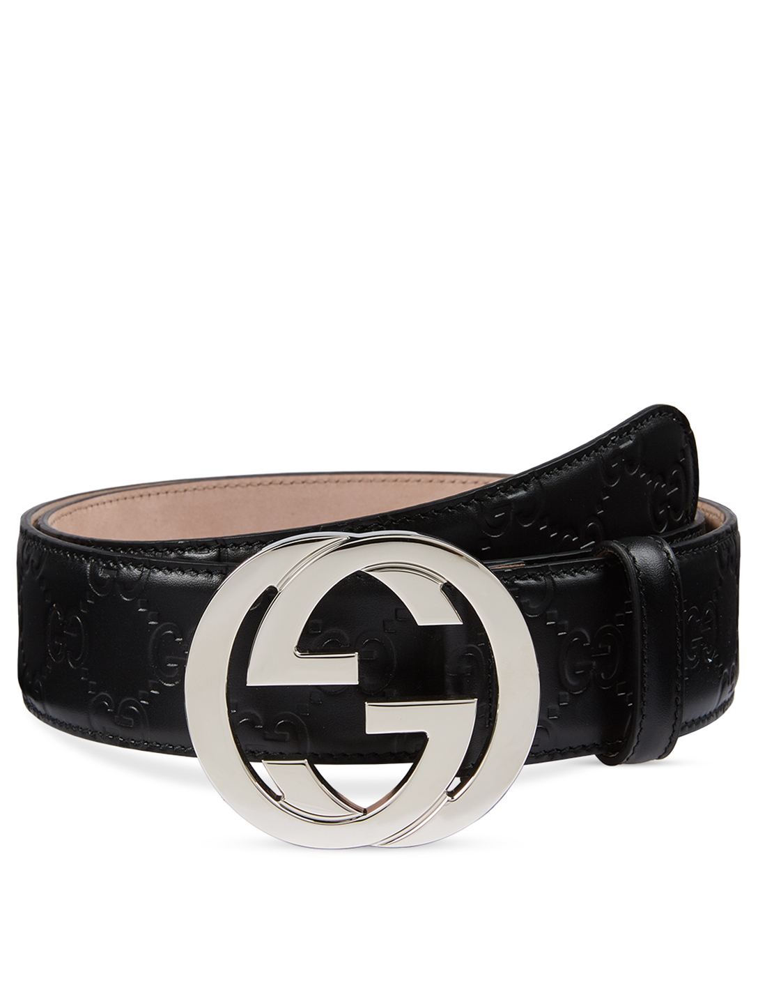 GUCCI Gucci Signature Leather Belt With G Buckle Men's Black