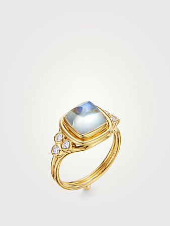 TEMPLE ST. CLAIR 18K Gold Classic Collina Ring With Blue Moonstone And Diamonds Women's Metallic