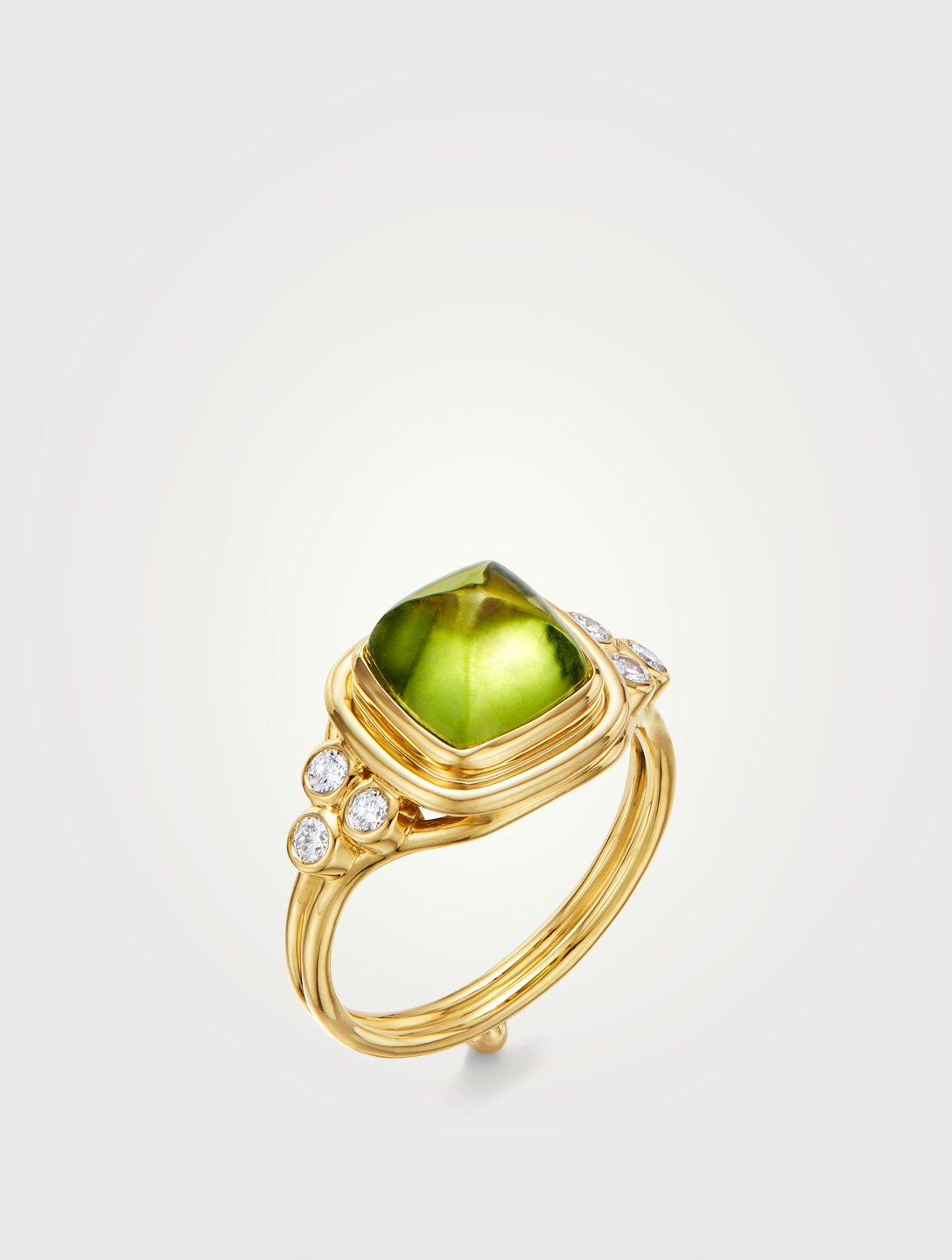 TEMPLE ST. CLAIR 18K Gold Classic Collina Ring With Peridot And Diamonds Women's Metallic