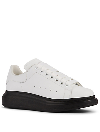 ALEXANDER MCQUEEN Oversized Leather Sneakers With Black Sole Women's White