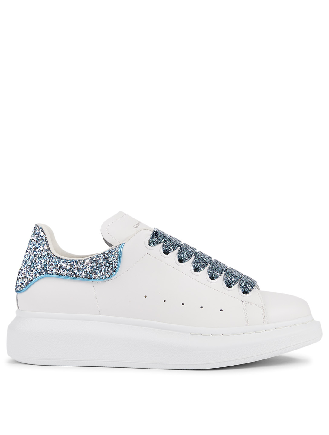 ALEXANDER MCQUEEN Oversized Leather Sneakers With Glitter Women's White