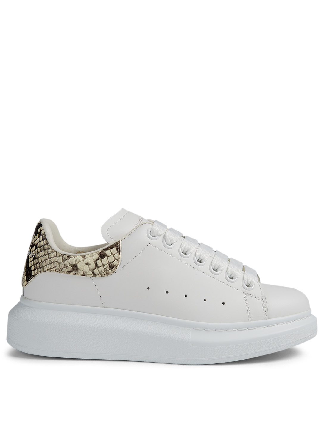 ALEXANDER MCQUEEN Oversized Leather Sneakers With Snake Print Patch Women's White