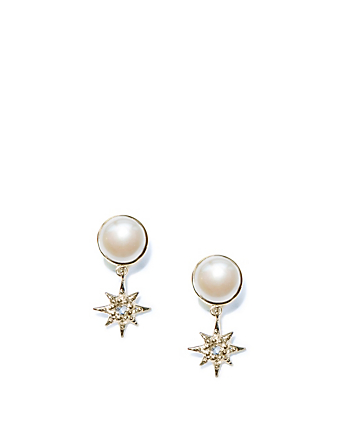 ANZIE Aztec 14K Gold Floating Micro Starburst Pearl Earrings With Topaz And Diamonds Women's Metallic