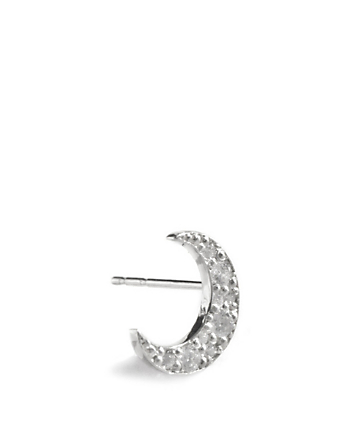 ANZIE Large Aztec Sterling Silver Crescent Moon Stud Earrings With White Sapphires Women's Metallic