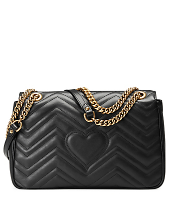 GUCCI Medium GG Marmont Matelassé Leather Chain Shoulder Bag Women's Black