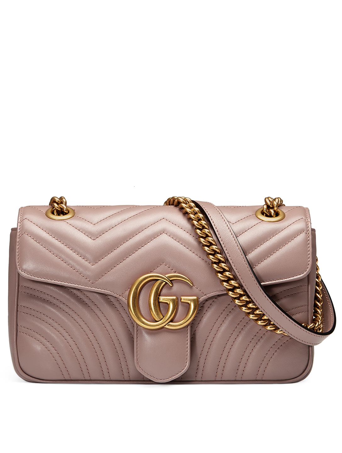 GUCCI Small GG Marmont Matelassé Leather Chain Shoulder Bag Women's Pink