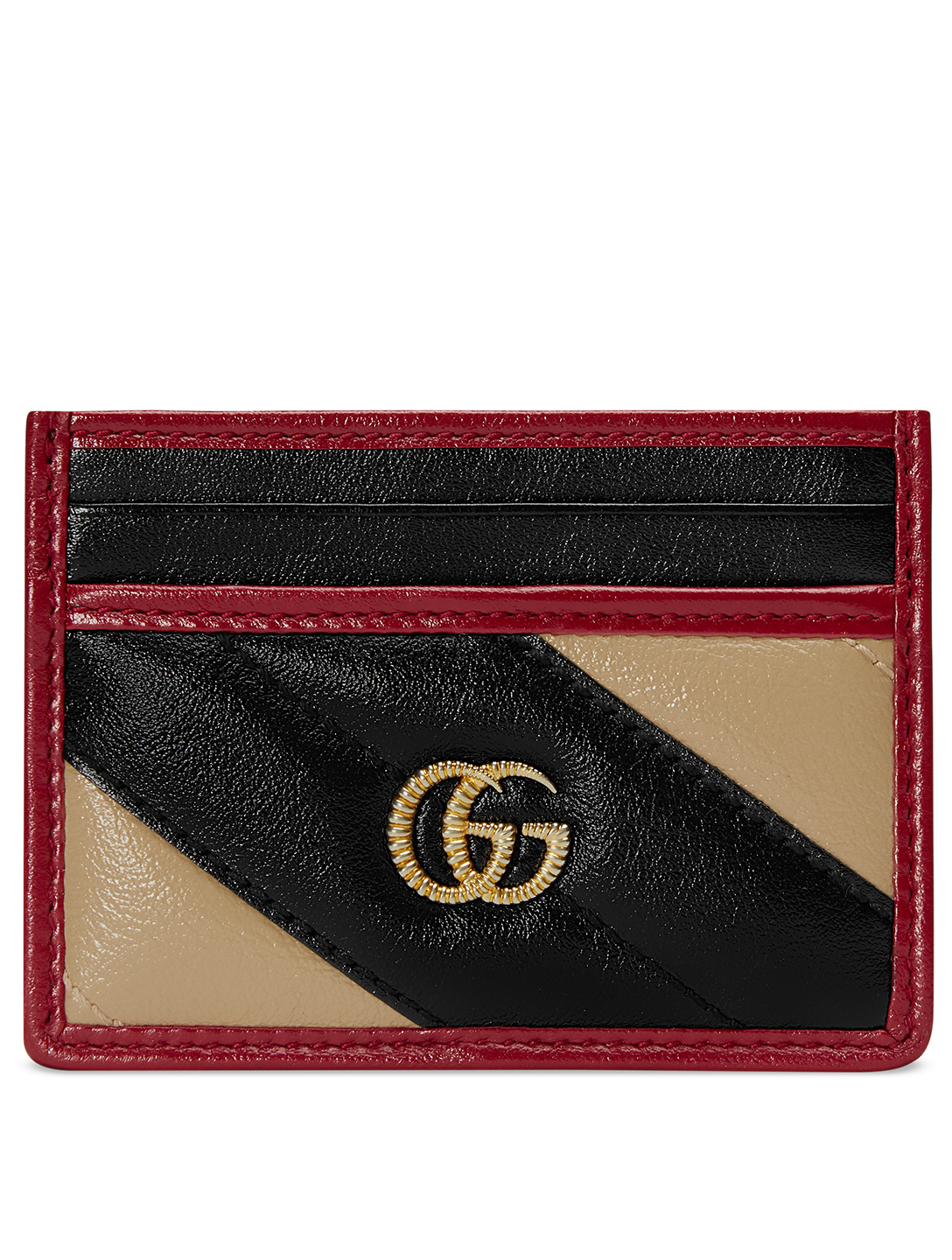 GUCCI Torchon GG Marmont Matelassé Leather Card Holder Women's Multi