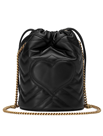GUCCI Mini GG Marmont Matelassé Leather Bucket Bag Women's Black