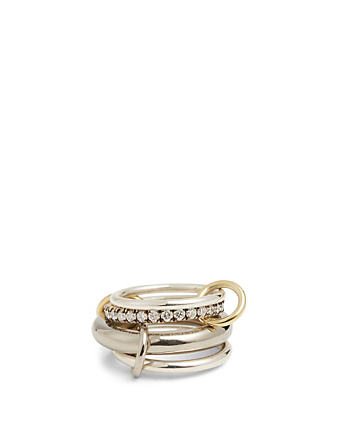 SPINELLI KILCOLLIN Luna BG 18K Gold And Silver Linked Ring With Diamonds Women's Black