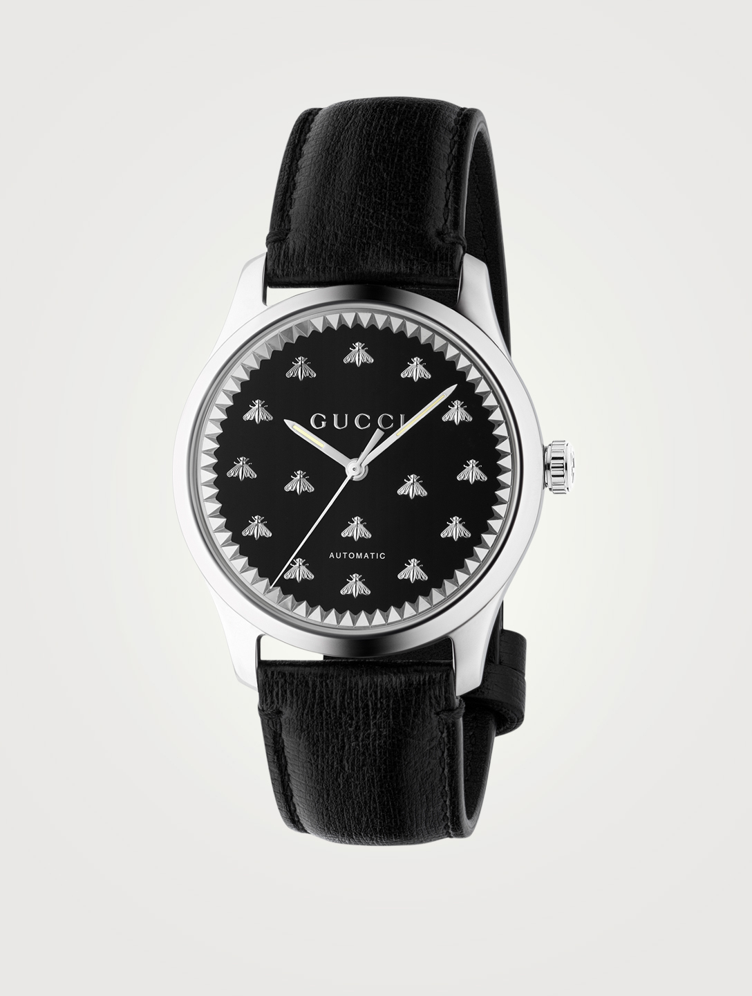 GUCCI G-Timeless Leather Strap Watch Women's Black