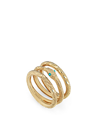 GUCCI Ouroboros 18K Gold Three-Band Ring Women's Metallic