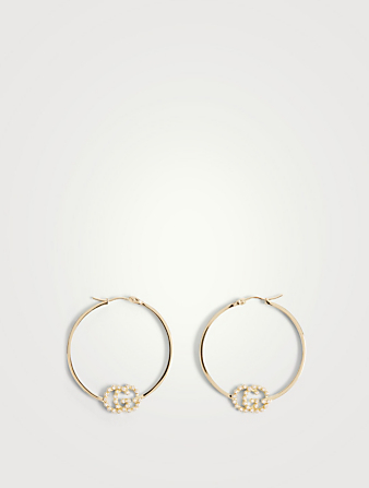 GUCCI Small GG Running 18K Gold Hoop Earrings With Diamonds Women's Metallic