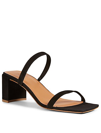 BY FAR Tanya Suede Heeled Sandals Women's Black