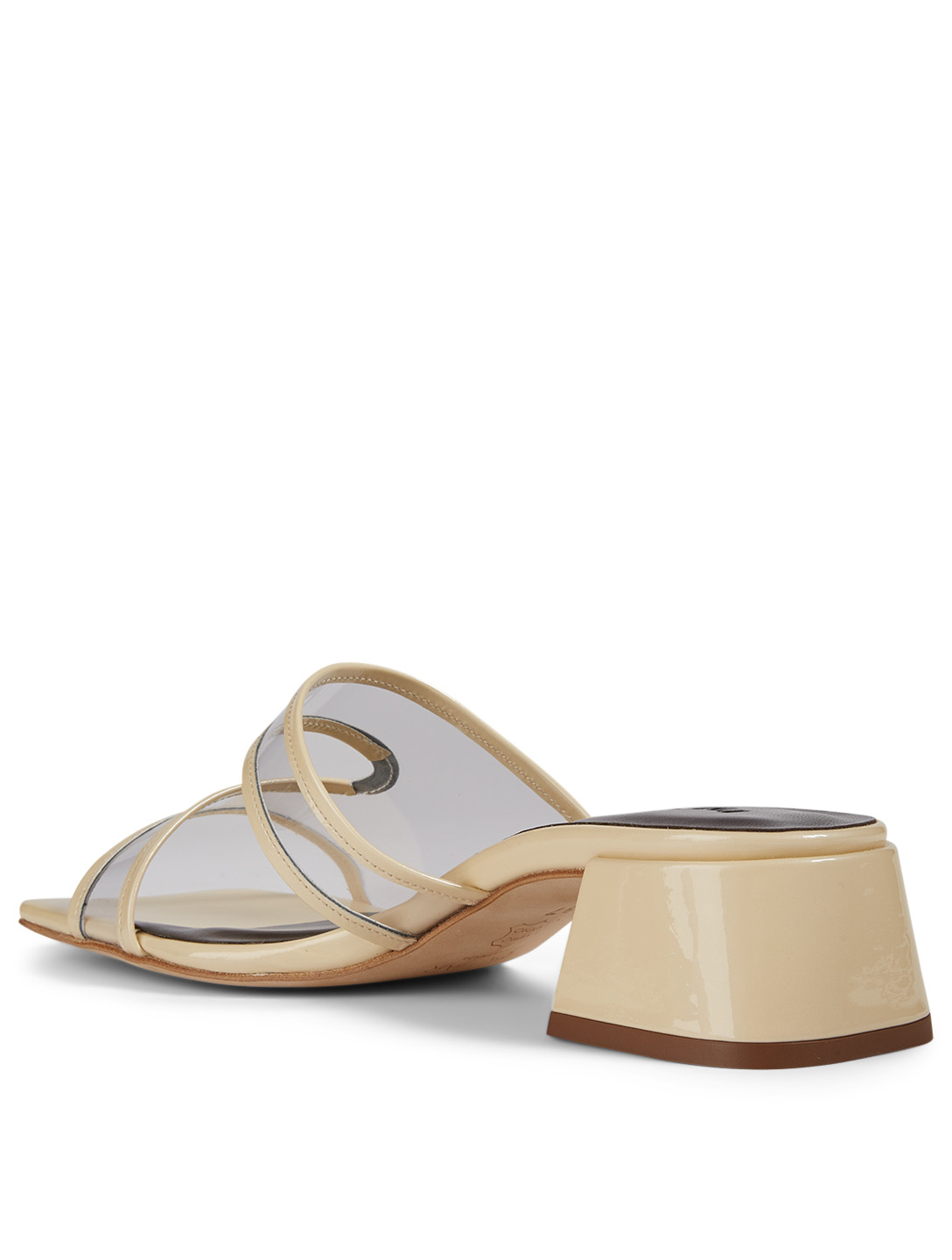 BY FAR Lola Patent Leather And PVC Heeled Sandals Women's White