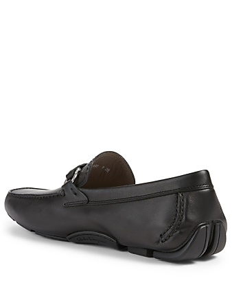 SALVATORE FERRAGAMO Stuart Leather Driver Shoes Men's Black
