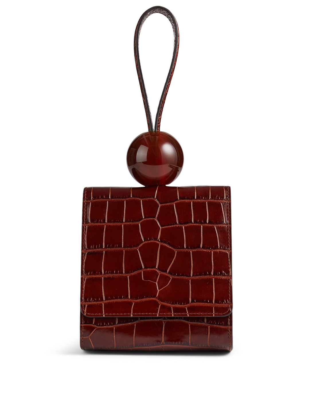 BY FAR Ball Croc-Embossed Leather Bag Women's Brown