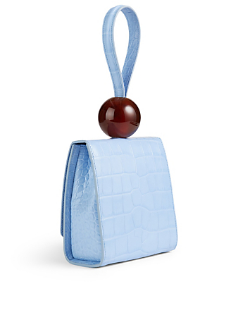 BY FAR Ball Croc-Embossed Leather Bag Women's Blue