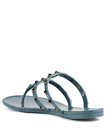 VALENTINO GARAVANI Rockstud Rubber Thong Sandals Women's Grey