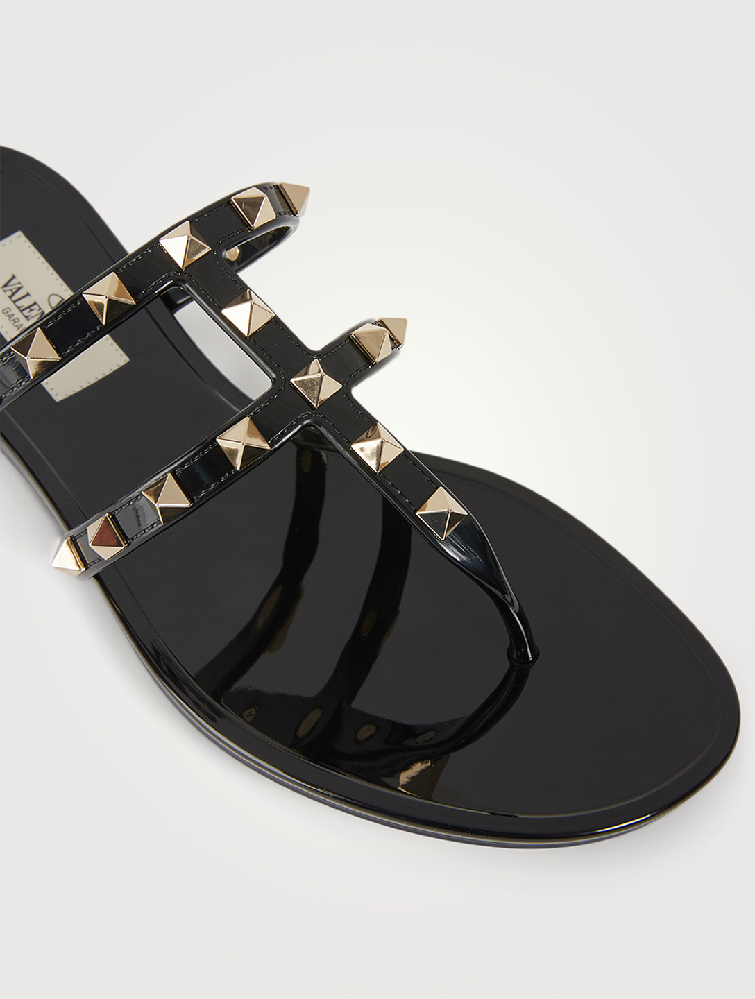 VALENTINO GARAVANI Rockstud Rubber Thong Sandals Women's Black