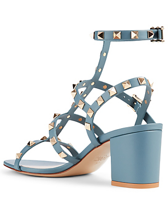 VALENTINO GARAVANI Rockstud Leather Caged Heeled Sandals Women's Grey