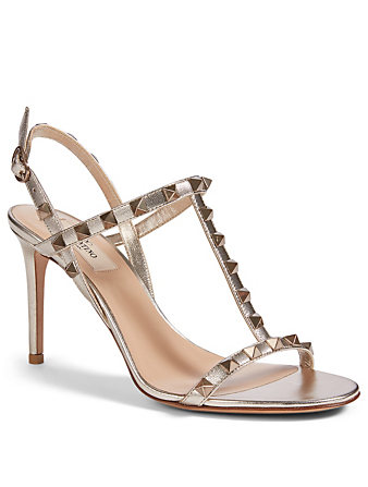 VALENTINO GARAVANI Rockstud Metallic Leather T-Strap Heeled Sandals Women's Metallic