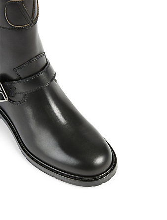 VALENTINO GARAVANI VLOGO Leather Biker Boots Women's Black