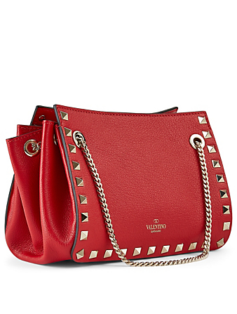 VALENTINO GARAVANI Mini Rockstud Leather Chain Bag Women's Red