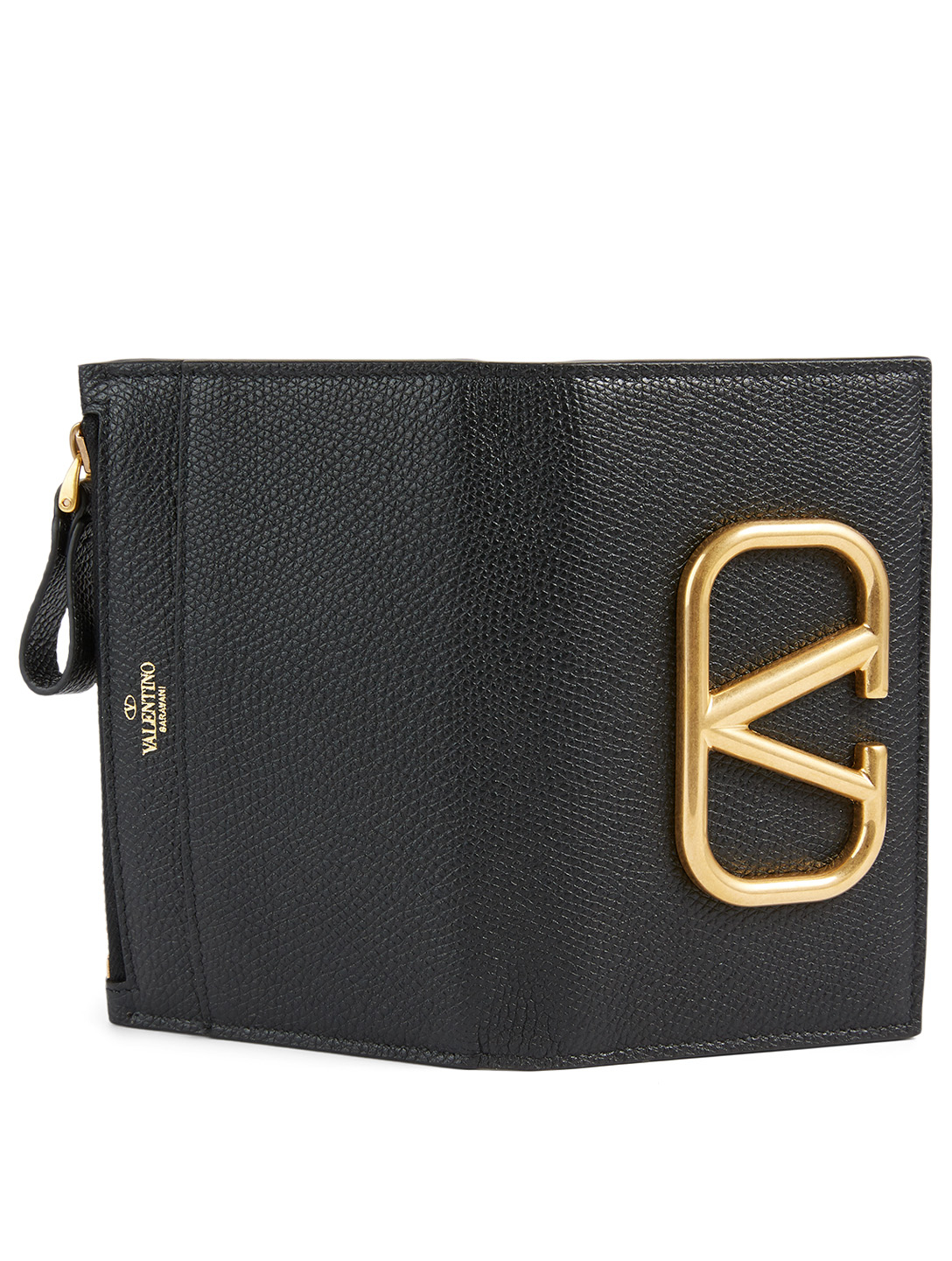VALENTINO GARAVANI VLOGO Leather Zip Card Holder Women's Black