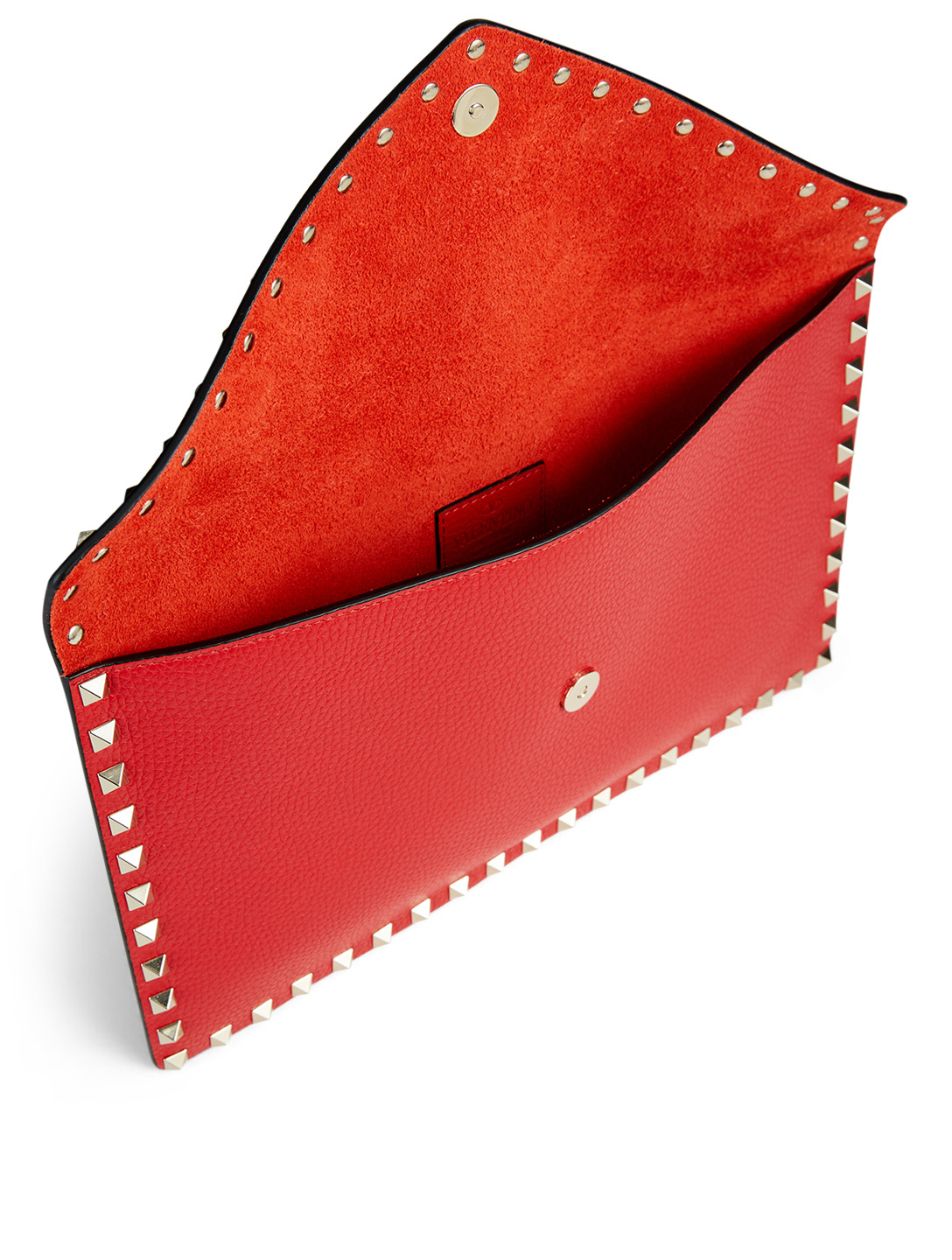 VALENTINO GARAVANI Large Rockstud Leather Pouch Women's Red