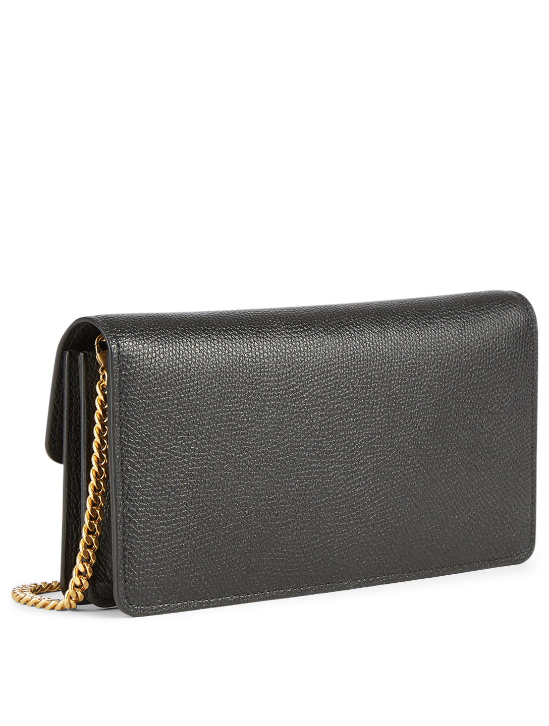 VALENTINO GARAVANI VSLING Leather Chain Wallet Bag Women's Black