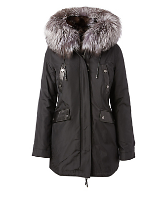 NICOLE BENISTI Belleville Reversible Parka In Fur Hood Women's Black