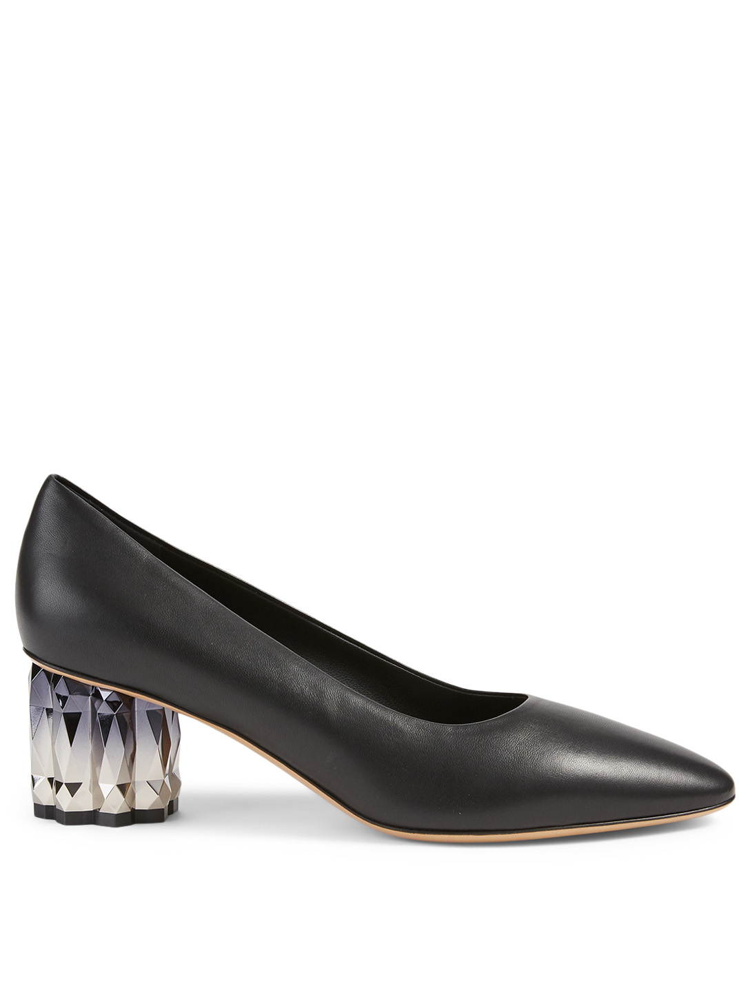 SALVATORE FERRAGAMO Amina Leather Refracted-Heel Pumps Women's Black