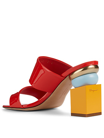 SALVATORE FERRAGAMO Lotten Patent Leather Geometric-Heeled Sandals Women's Red