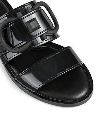 SALVATORE FERRAGAMO Taryn PVC Slide Sandals With Gancini Women's Black