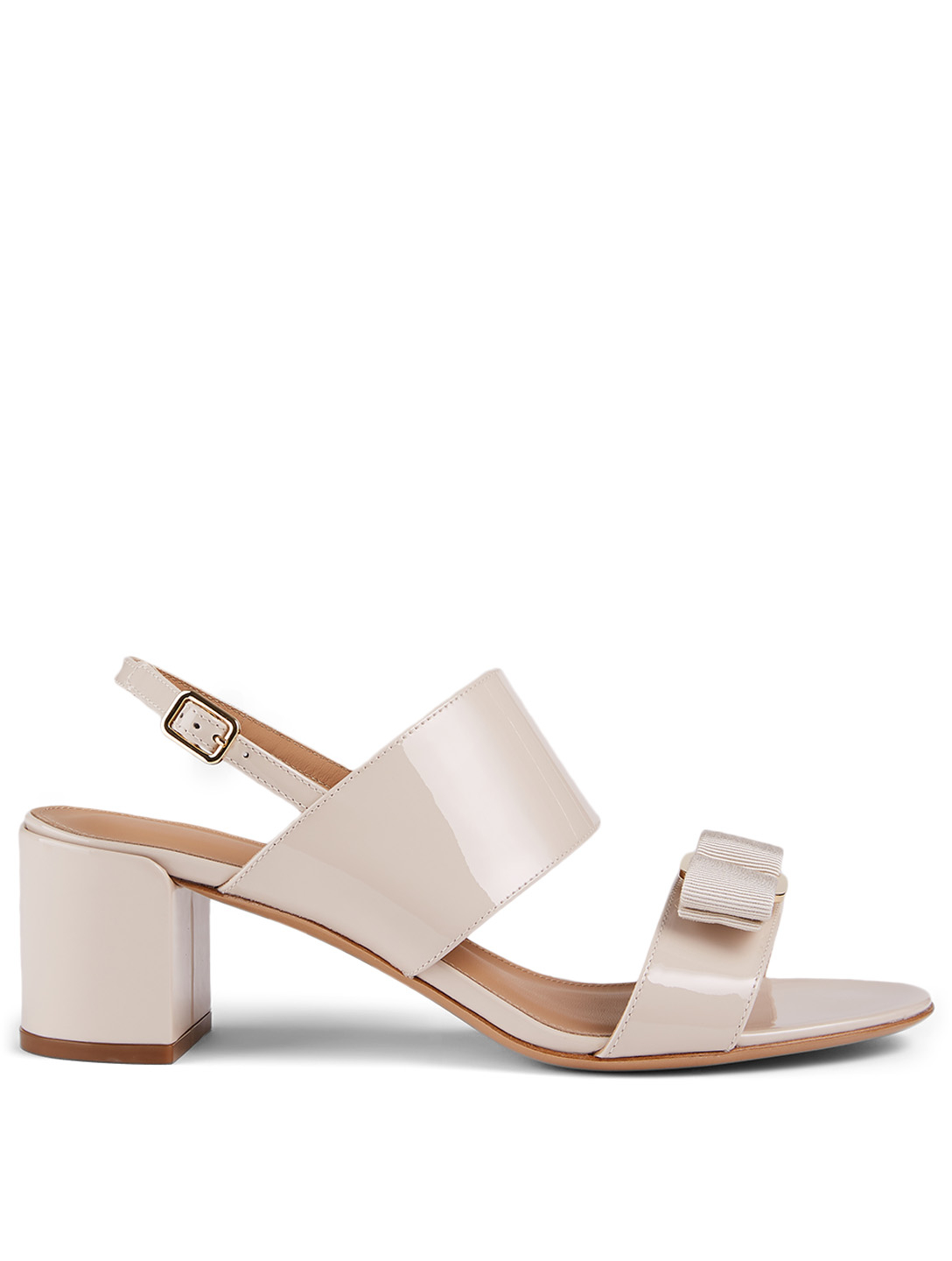 SALVATORE FERRAGAMO Giulia Patent Leather Heeled Sandals Women's White