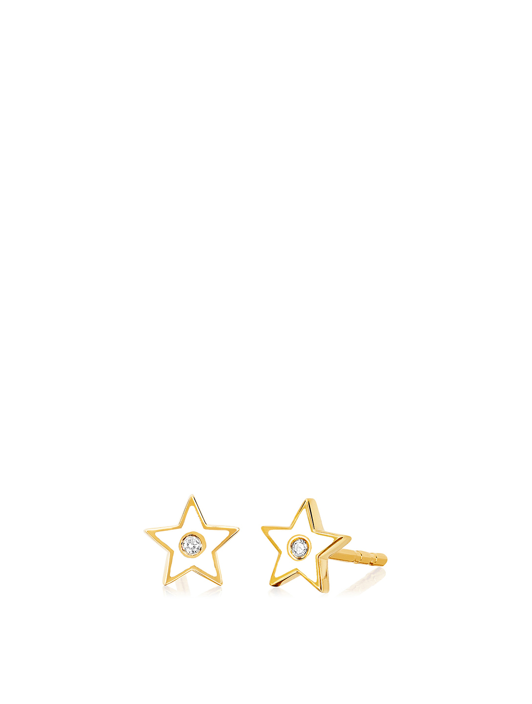 EF COLLECTION 14K Gold Enamel Star Stud Earrings With Diamonds Women's Metallic