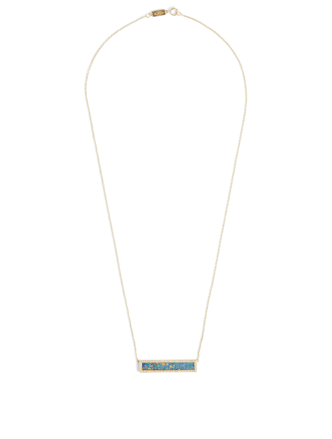 JENNIFER MEYER Gold Opal Inlay Bar Necklace With Diamonds Women's Metallic