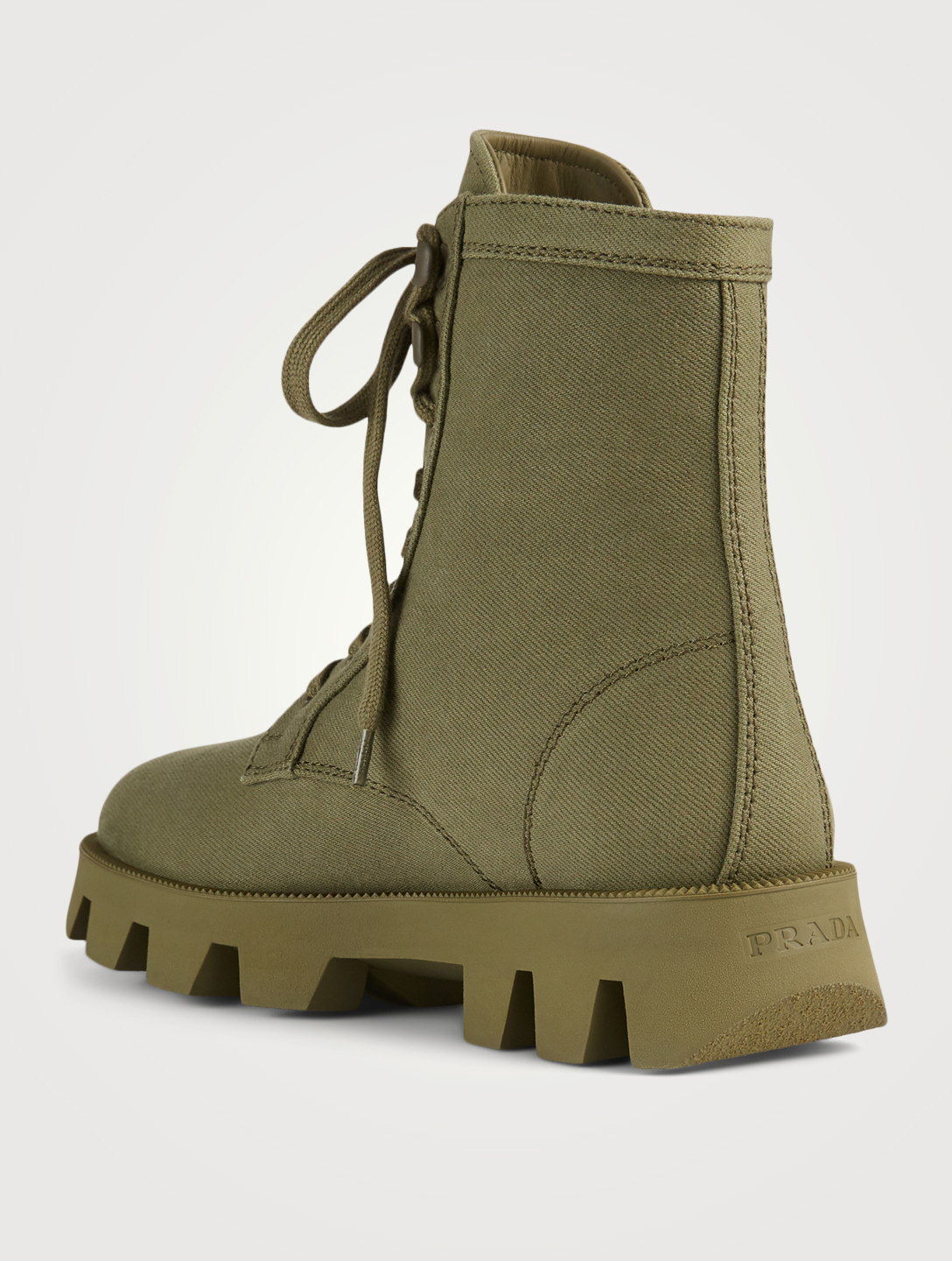 PRADA Canvas Combat Boots Women's Green