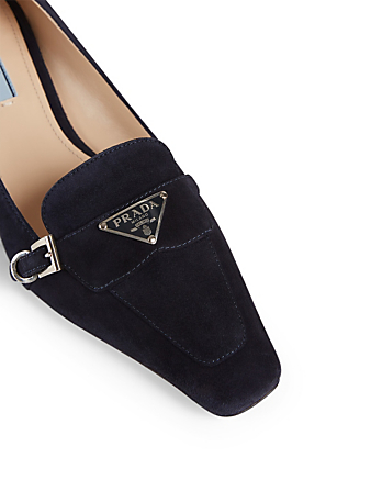 PRADA Suede Heeled Loafers Women's Blue
