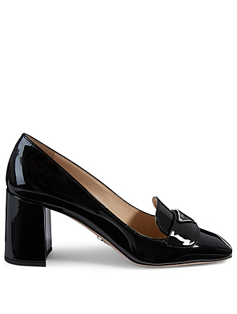 PRADA Patent Leather Heeled Loafers Women's Black