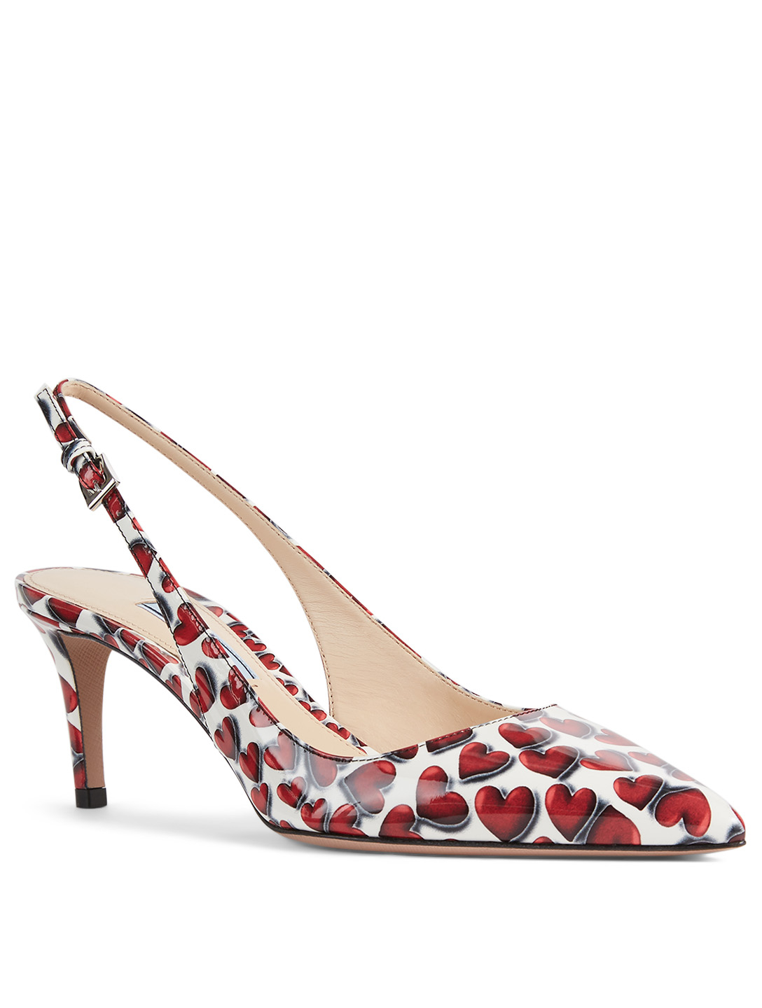 PRADA Patent Leather Slingback Pumps In Heart Print Women's Red
