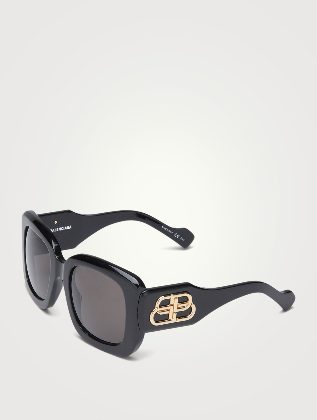 BALENCIAGA Square Sunglasses With Logo Women's Black