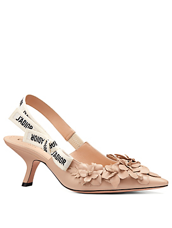 DIOR J'Adior Leather Slingback Pumps With Flowers Women's Pink