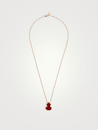 QEELIN Wulu 18K Rose Gold Necklace With Red Agate Women's Metallic