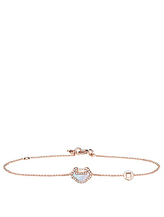 QEELIN Petite Yu Yi 18K Rose Gold Bracelet With Diamonds And Mother Of Pearl Women's Metallic