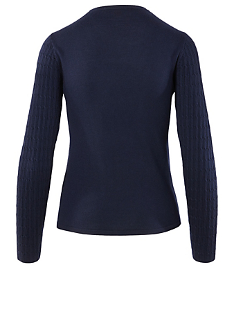 PERFECT MOMENT Wool Bear Crewneck Sweater Women's Blue