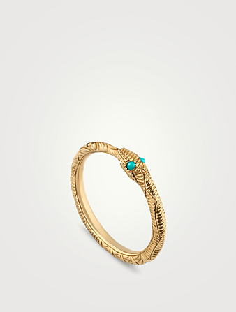 GUCCI Ouroboros 18K Gold Ring With Turquoise Women's Metallic