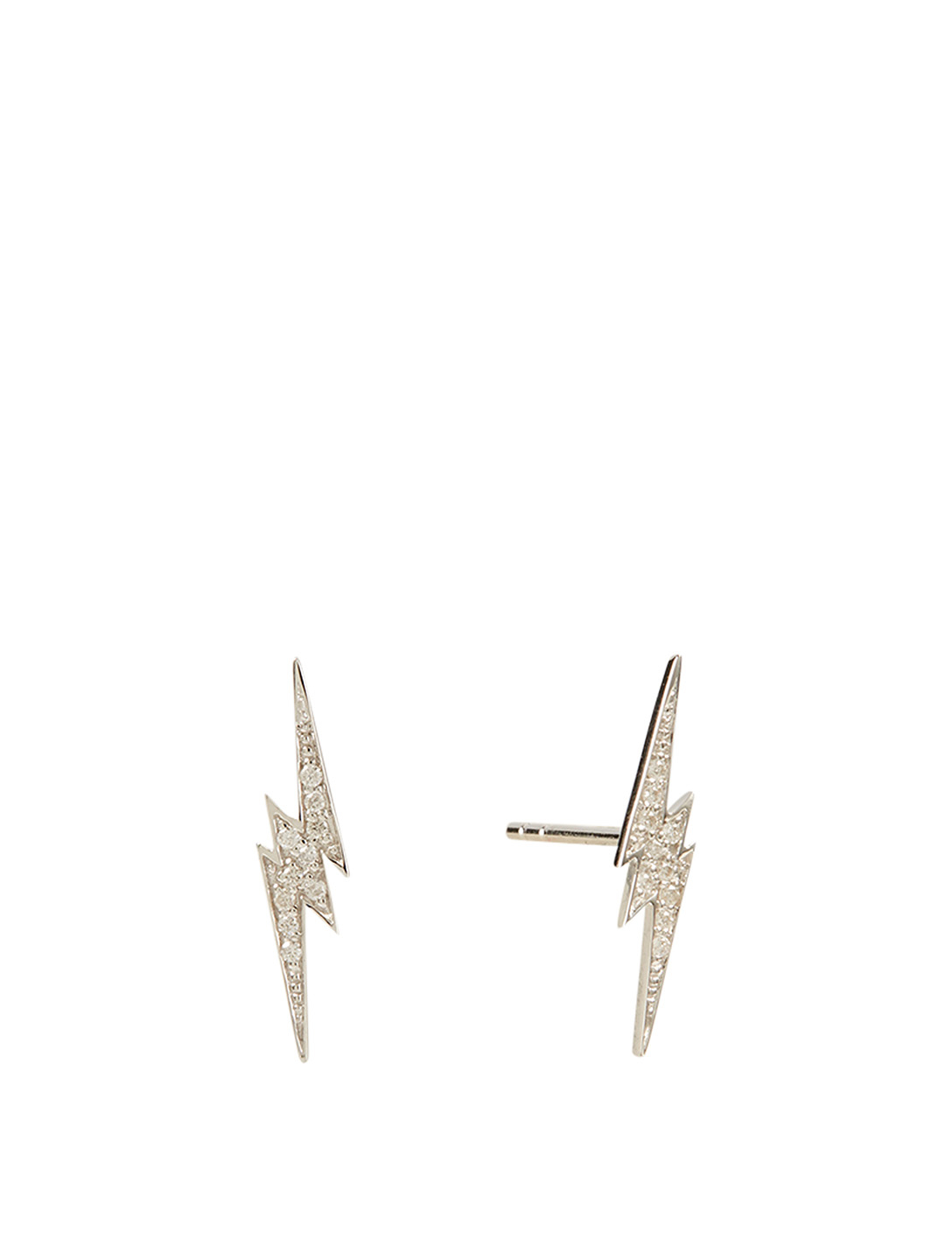 SYDNEY EVAN 14K White Gold Lightning Bolt Stud Earrings With Diamonds Women's Metallic