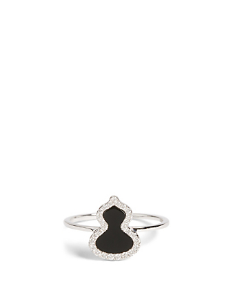 QEELIN Petite Wulu 18K White Gold Ring With Diamonds And Onyx Women's Metallic